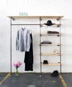 Industriedesign Ankleidesystem aus Wasserrohr mit Kleiderstange und Regal selber bauen