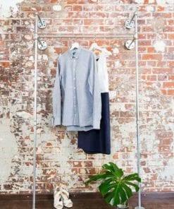 Kleiderstange Schranksystem Industrial Style verzinkt Heizungsrohr Metall Temperguss Wandmontage fuer Garderobe im Flur oder Schlafzimmer