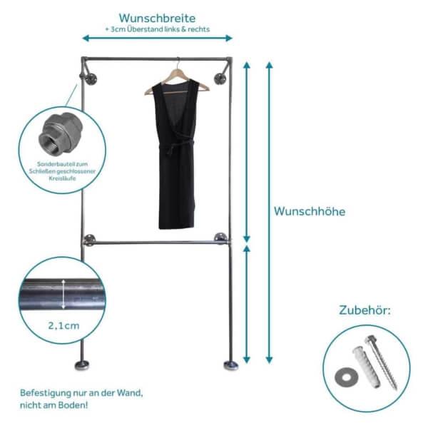 Doppelte Kleiderstange Industrial Style aus Stahlrohr schwarz und Temperguss Wandmontage in Ankleide Schlafzimmer Flur