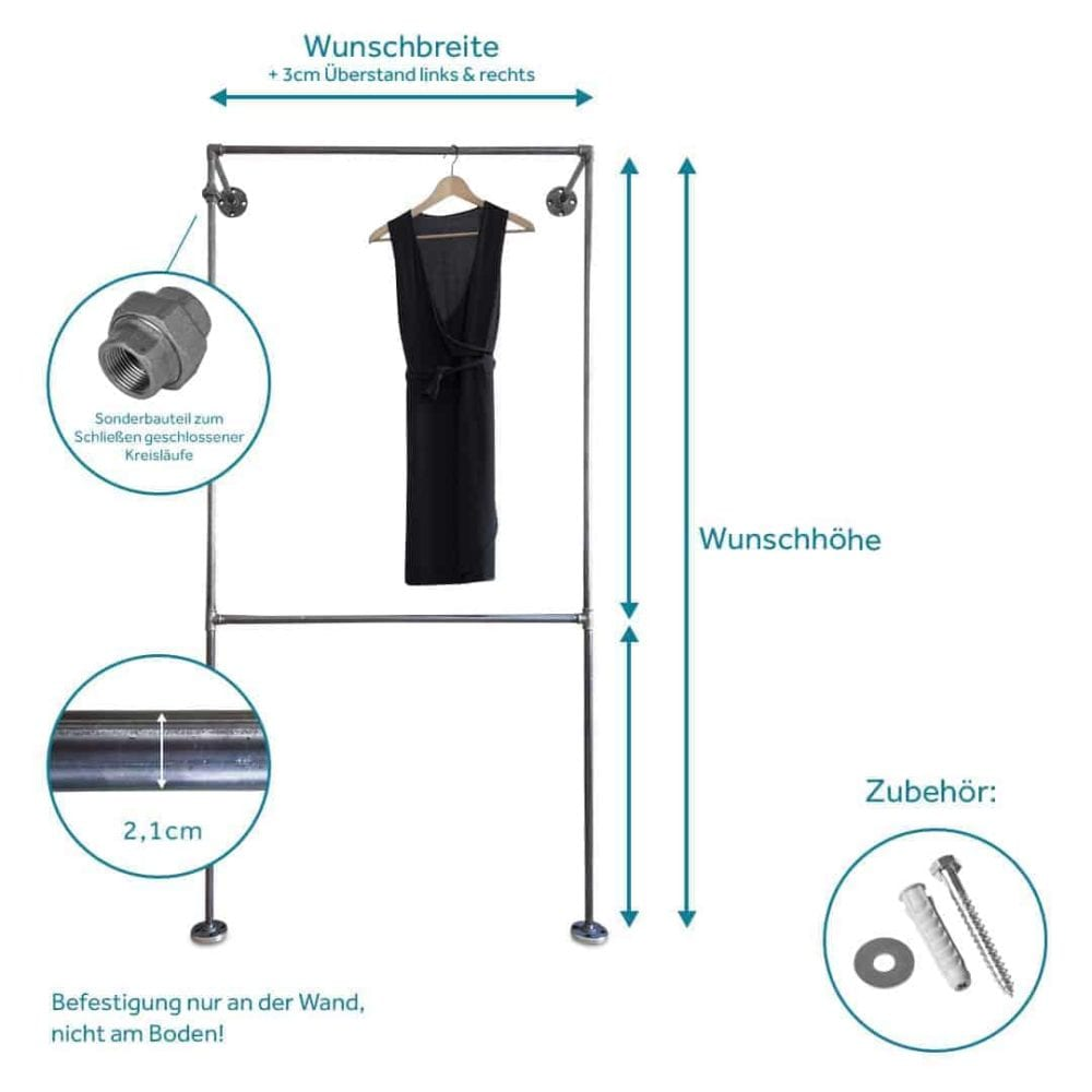 Schranksystem Industriedesign aus Heizungsrohr Metall und Temperguss Wandmontage Flur und Schlafzimmer Moebel selber bauen