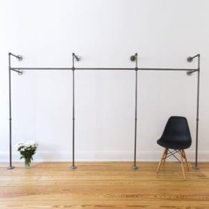 Garderobe Industrial Design Temperguss Metall Stahlrohr fuer Flur und Schlafzimmer Wandmontage