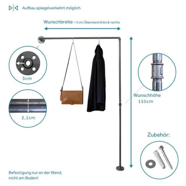 Garderobe Industrial Style schmal Flur Kleiderstange Metall Stahlrohr Temperguss stabil