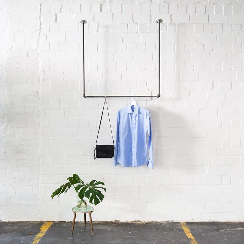 Kleiderstange Deckenmontage Industrial Style U-Form Wasserrohr Temperguss Metall