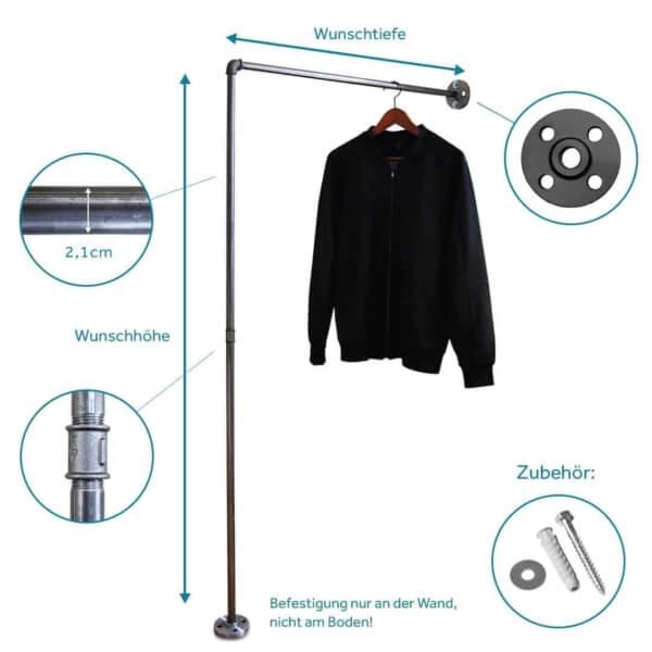 Industrial Style Garderobenleiste aus Metall für Wandgarderobe im Flur