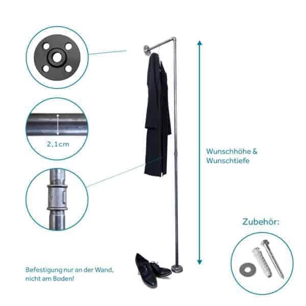Garderobenstange Industrial Standgarderobe Garderobenstaender Garderobenleiste Wandbefestigt Metall Industriedesign