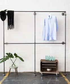 Garderobensystem Industrial Style Wasserrohr Metall und Temperguss Ladeneinrichtung Wandmontage