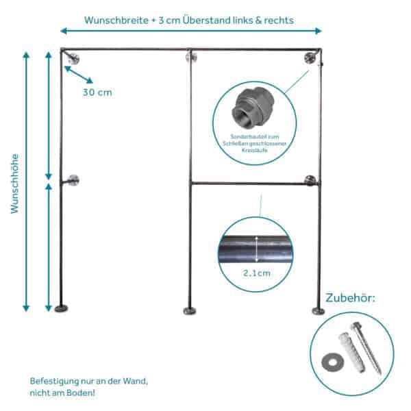 Kleiderschrank Rohrsystem Industrial Style Metall Stahlrohr Temperguss Moebel selber bauen Wandmontage Ladeneinrichtung