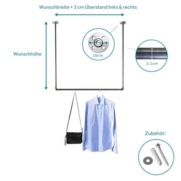 Garderobenstange Industriedesign Deckenmontage aus Metall Wasserrohr Temperguss schmaler Flur selber bauen