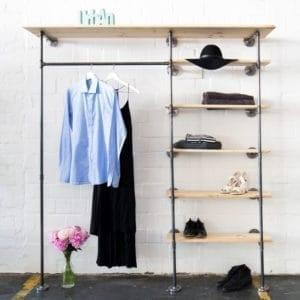 Industrial Style offener Kleiderschrank Ankleidesystem mit Regal aus Heizungsrohr und Temperguss schwarz Metall stabil