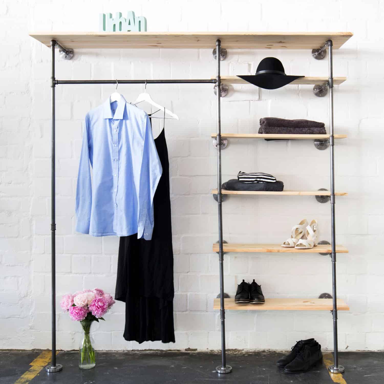 Industrial Design Open Closet System Clothes Rail Shelve Space