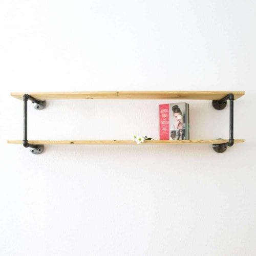 Wandregal Industrial Design Buecherregal DIY Moebelbau Wasserrohr auf Mass