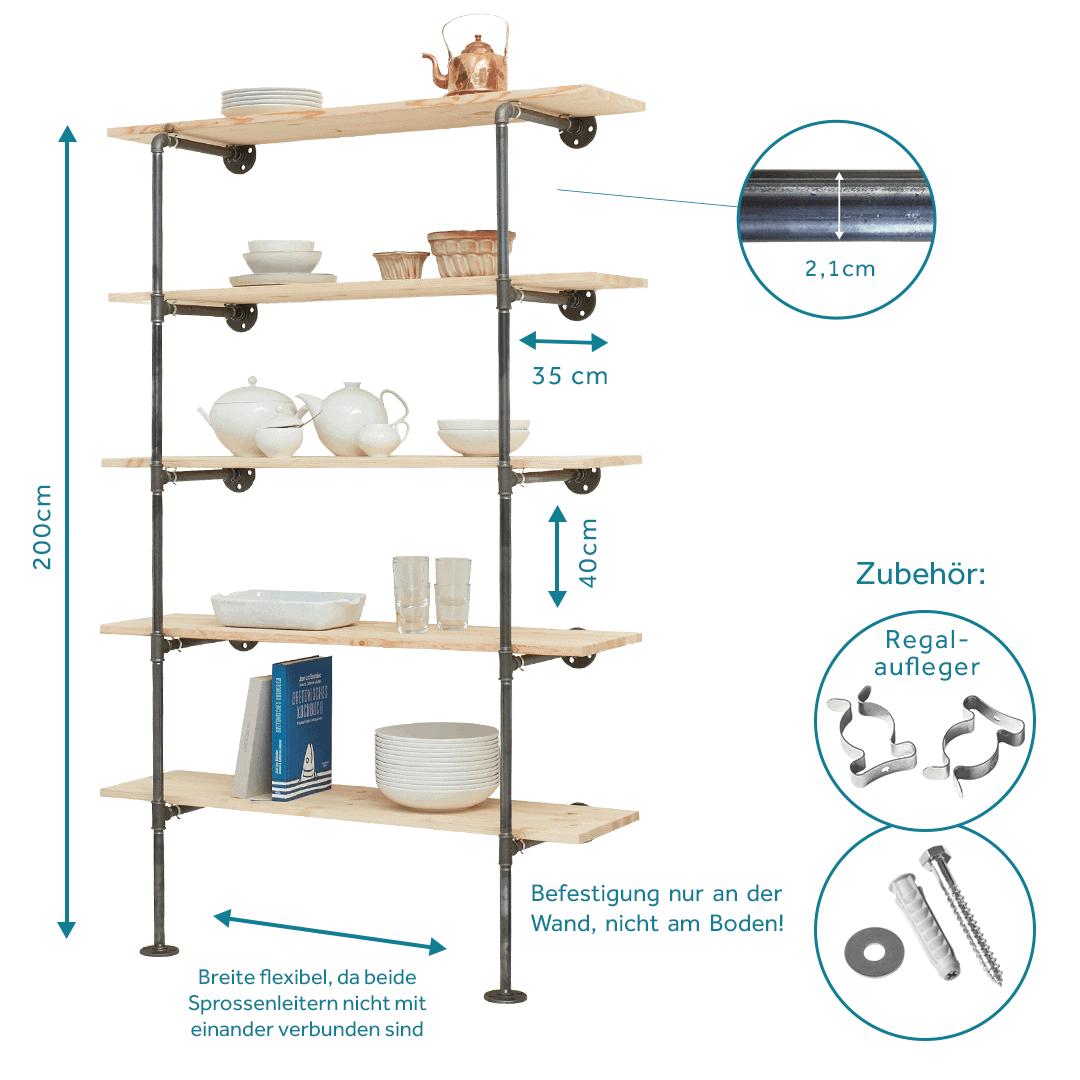 Kuchenregal Industrial Design Aus Wasserrohr Temperguss Online Kaufen