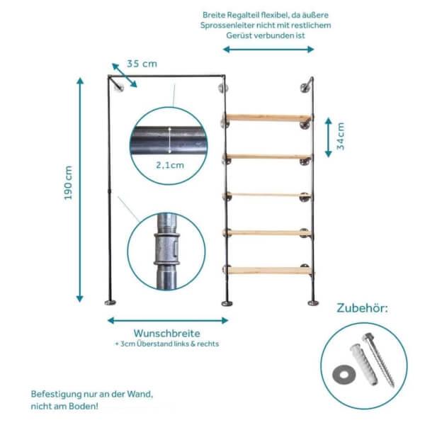 Schranksystem Regal mit Kleiderstange Industrial Design Metall Wasserrohr und Temperguss zur Wandmontage im Schlafzimmer Ankleide Ladeneinrichtung selber bauen