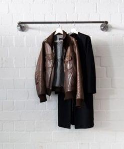 Kleiderstange Garderobe Industrial Style Wasserrohr schwarz Temperguss Wandmontage