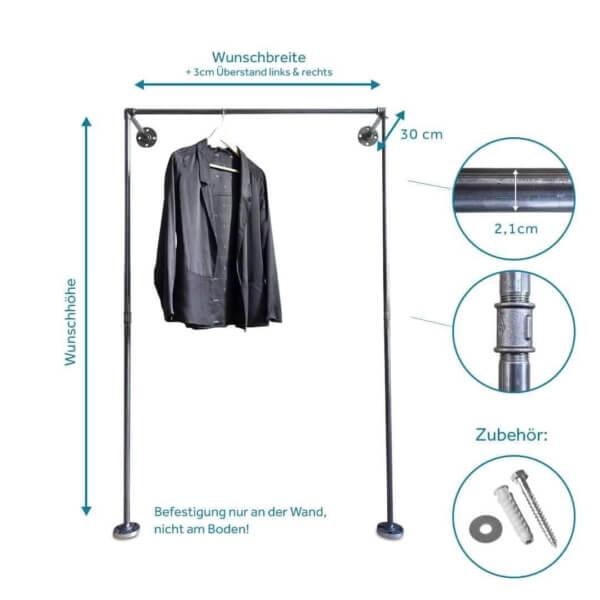 Kleiderstaender Industriedesign Wandmontage aus Heizungsrohr und Temperguss für Ankleide im Schlafzimmer