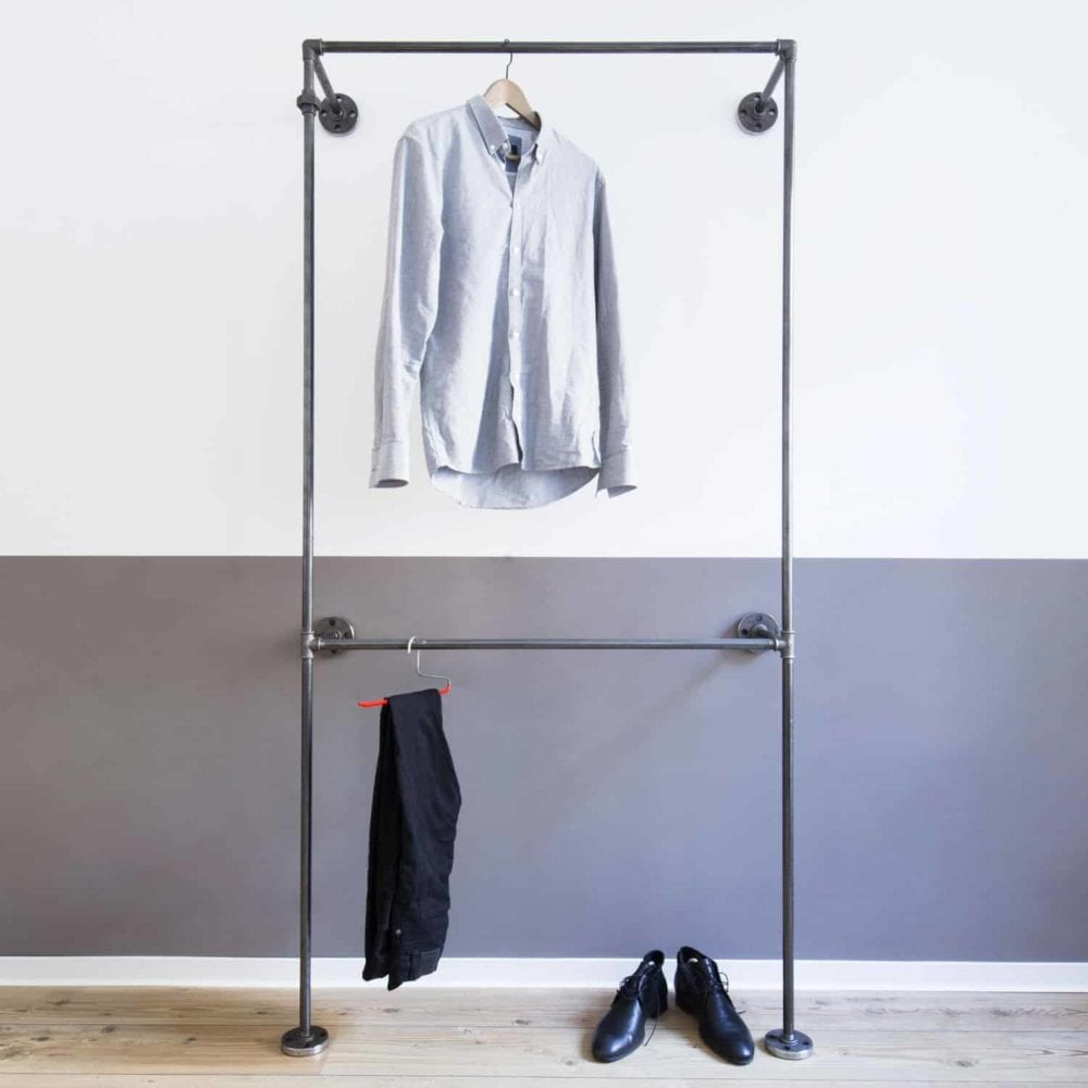 Industrial Garderobe Doppelte Kleiderstange Stahlrohr Temperguss Moebel selber bauen Wandmontage