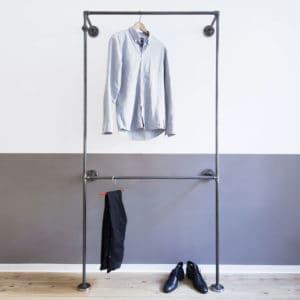 Industrial Garderobe Doppelte Kleiderstange Stahlrohr Temperguss Moebel