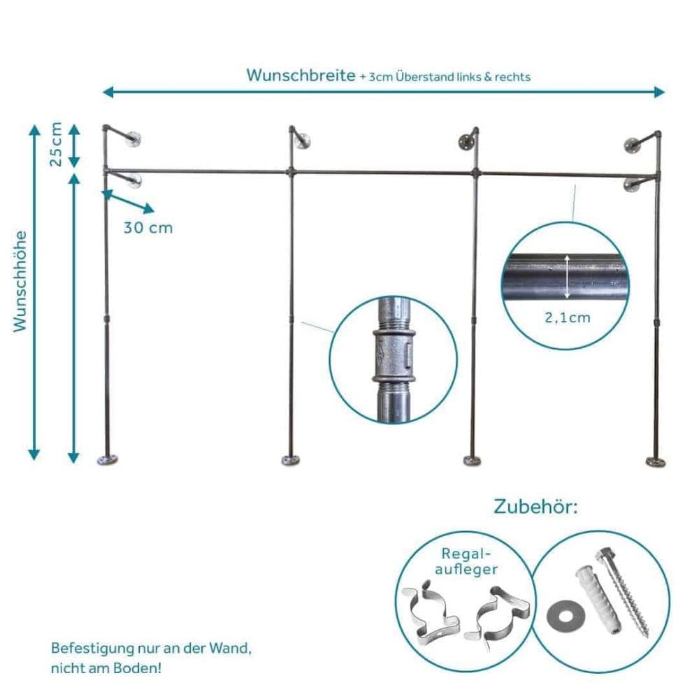 Kleiderstange Industriedesign Temperguss Metall Wasserrohr schwarz Wandmontage fuer Garderobenzimmer