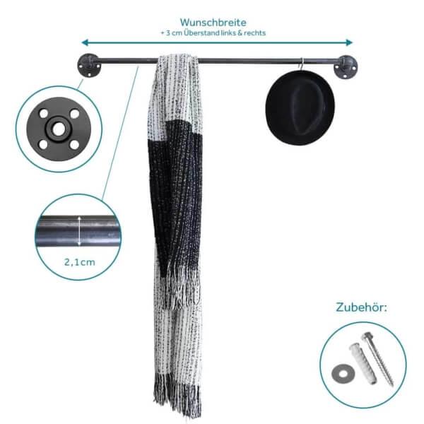 Garderobe Industrial Design aus Heizungsrohr Metall Temperguss schwarz Wandmontage