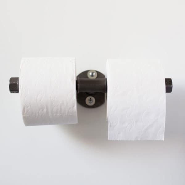 Klorollenhalter Industrial Design doppelt Temperguss Wasserrohr zwei Klorollen Toilettenpapierabroller