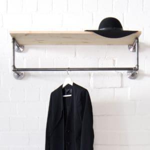 Kleiderstange Industrial Design Garderobe mit Hutablage aus Wasserrohr Temperguss in Wunschgroesse