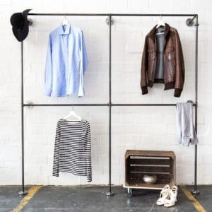 Industrial Garderobe Kleiderstaender Stahlrohr Temperguss Metall Doppelte Kleiderstange Wandmontage