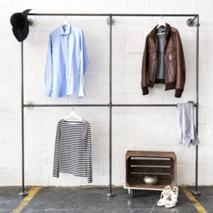 Industrial Garderobe Kleiderstaender Stahlrohr Temperguss Doppelte Kleiderstange