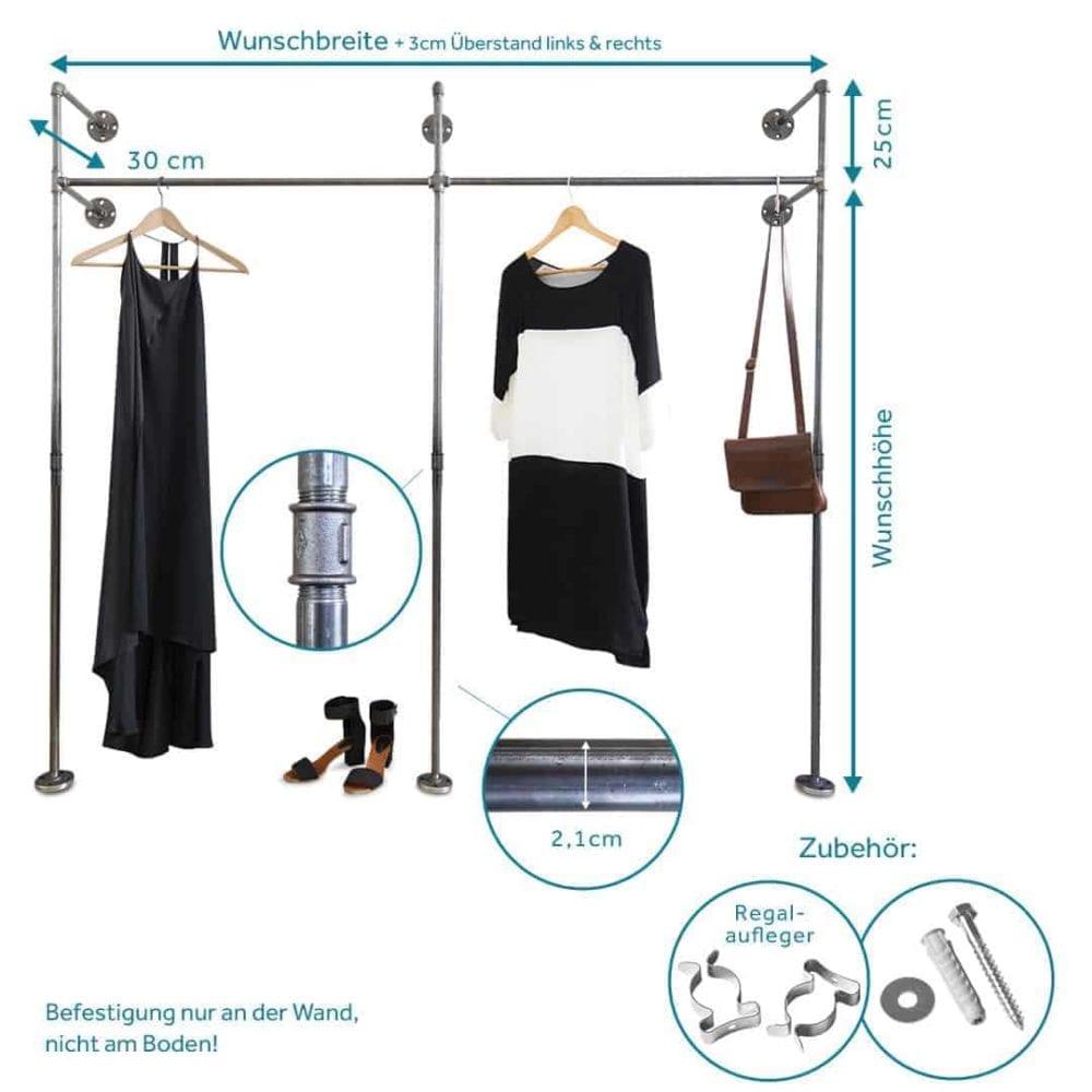 Kleiderschrank Rohrsystem Industrial Style Wasserrohr Metall Temperguss fuer Schlafzimmer Flur oder Ankleidezimmer