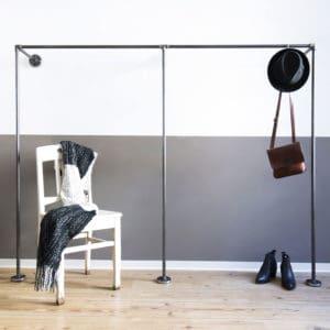 Kleiderständer Industrial Design Wandgarderobe Wasserrohr Temperguss Moebel Stahlrohr selber bauen