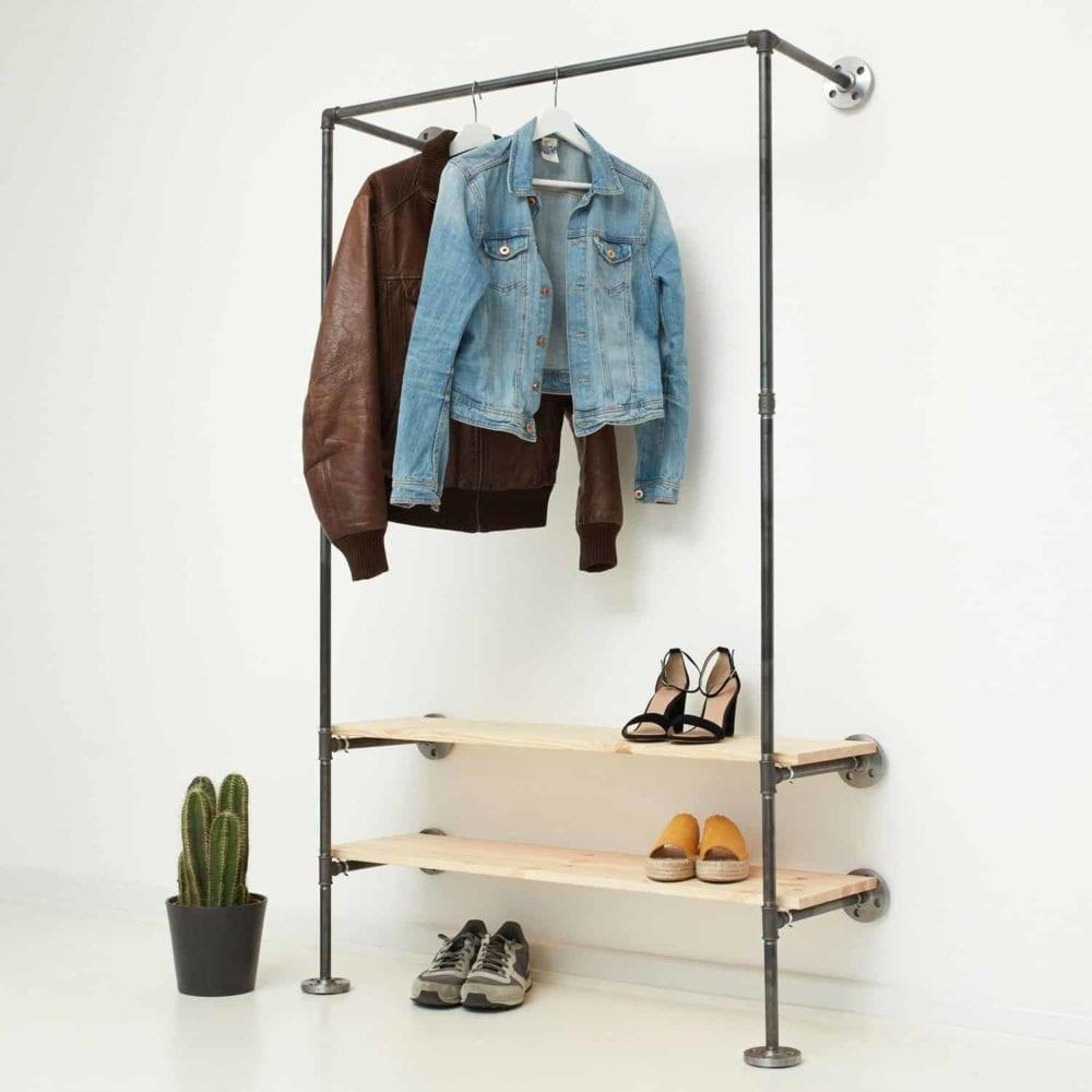 Garderobe Industrial Design Stahlrohr Wasserrohr Temperguss Moebel selber bauen Wandmontage Flur