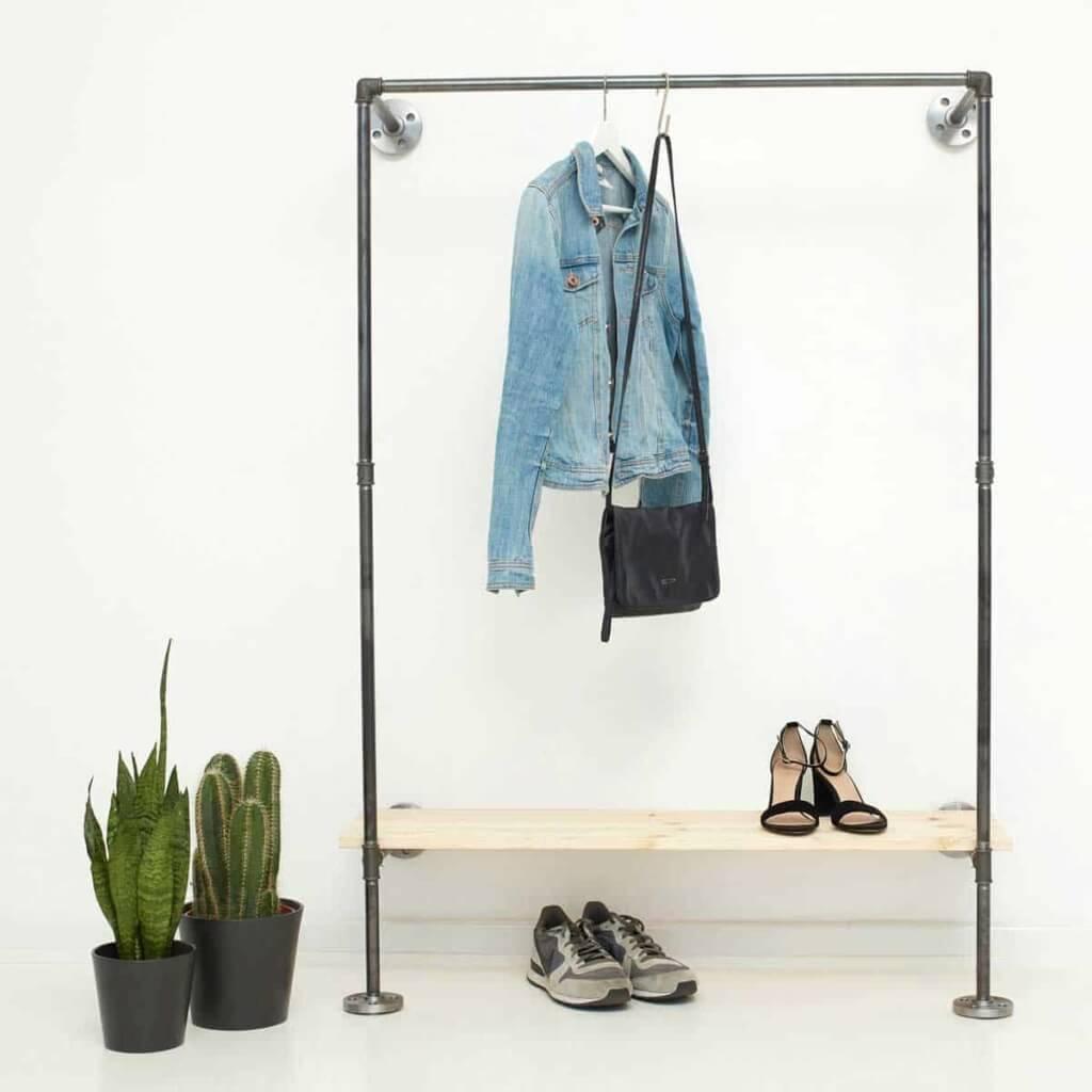 Garderobe Industrial Design mit Schuhregal aus Stahlrohr