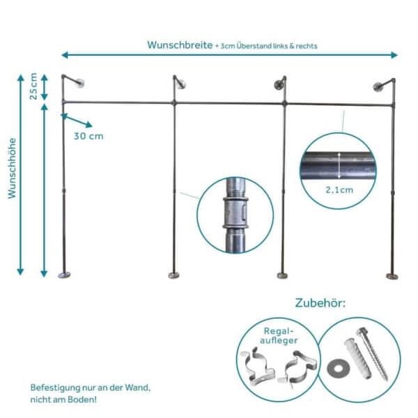 Garderobensystem Industriedesign aus Heizungsrohr und Temperguss zur Wandmontage Stahlrohr Moebel selber bauen Ladeneinrichtung