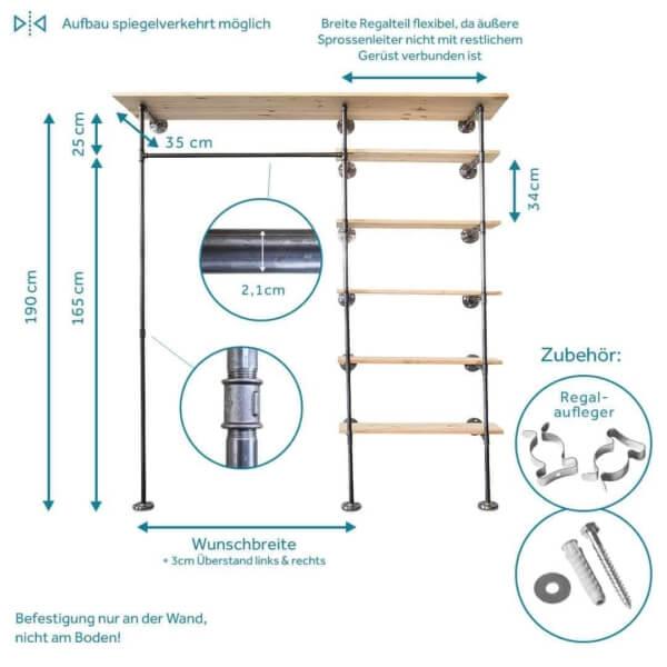Ankleidesystem aus Kleiderstange und Regal Industriedesign Wasserrohr Metall und Temperguss zur Wandmontage Flur und Schlafzimmer