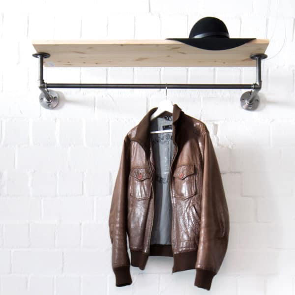 Garderobe Industrial Design mit Garderobenstange & Hutablage Stahlrohr Temperguss Moebel