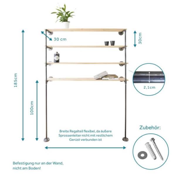 Regalsystem Industrial Style Rohrsystem stabil aus Wasserrohr Metall Temperguss selber bauen