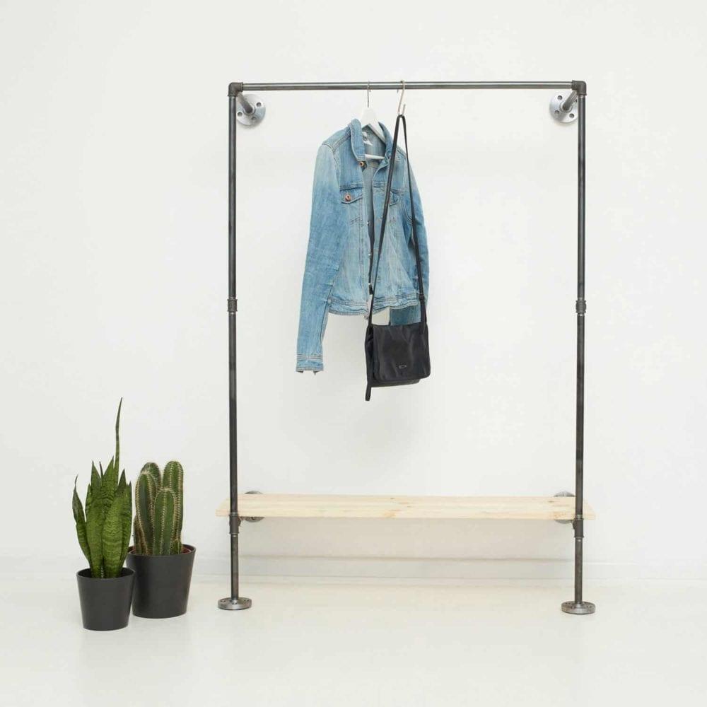 Garderobensystem Industriedesign Stahlrohr Moebel selber bauen Wandmontage Flur Ankleide