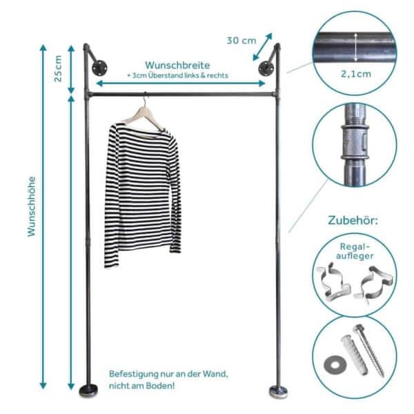 Garderobe Industriedesign Kleiderstange Wasserrohr Temperguss Wandmontage Flur Schlafzimmer