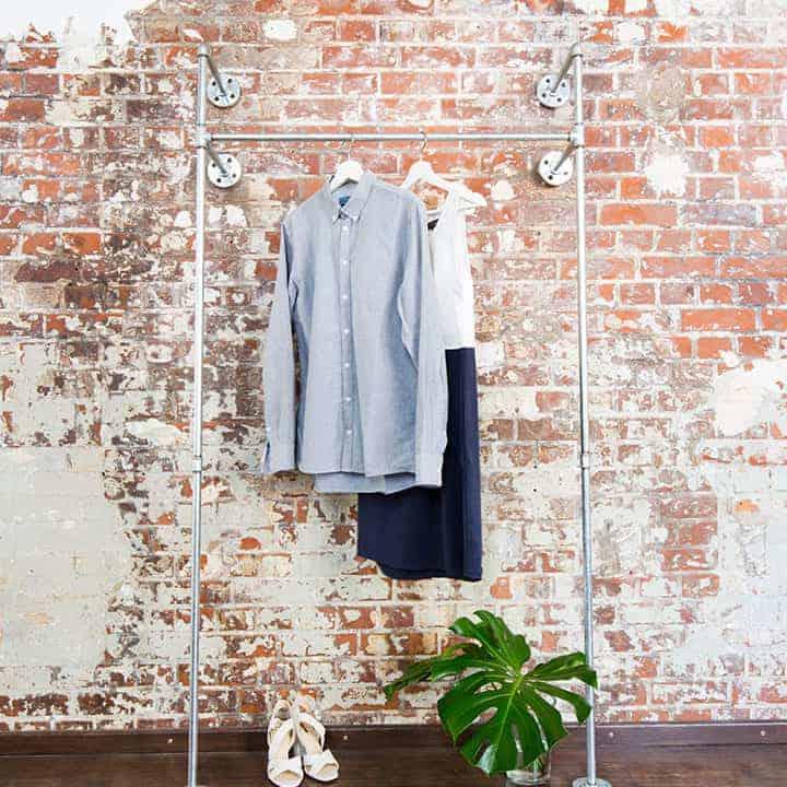 Wandgarderobe Garderobenständer Industrial Design Wasserrohr Temperguss Metall