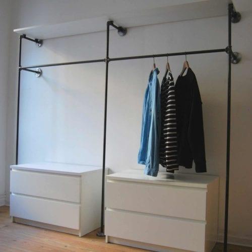 Garderobe Industrial Design offener Kleiderschrank mit Kommode und Regal aus Stahlrohr