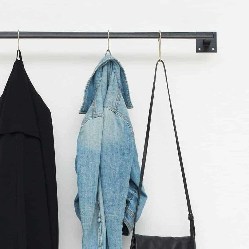 Kleiderstange Wandmontage Industrial Look skandinavisch Metall geschweisst schwarz pulverbeschichtet