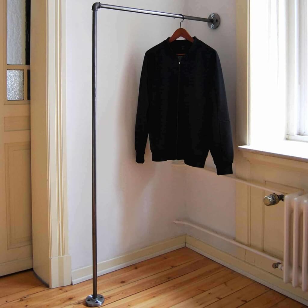 Kleiderstange L-Form Industrial Design Garderobenstange Wasserrohr Temperguss