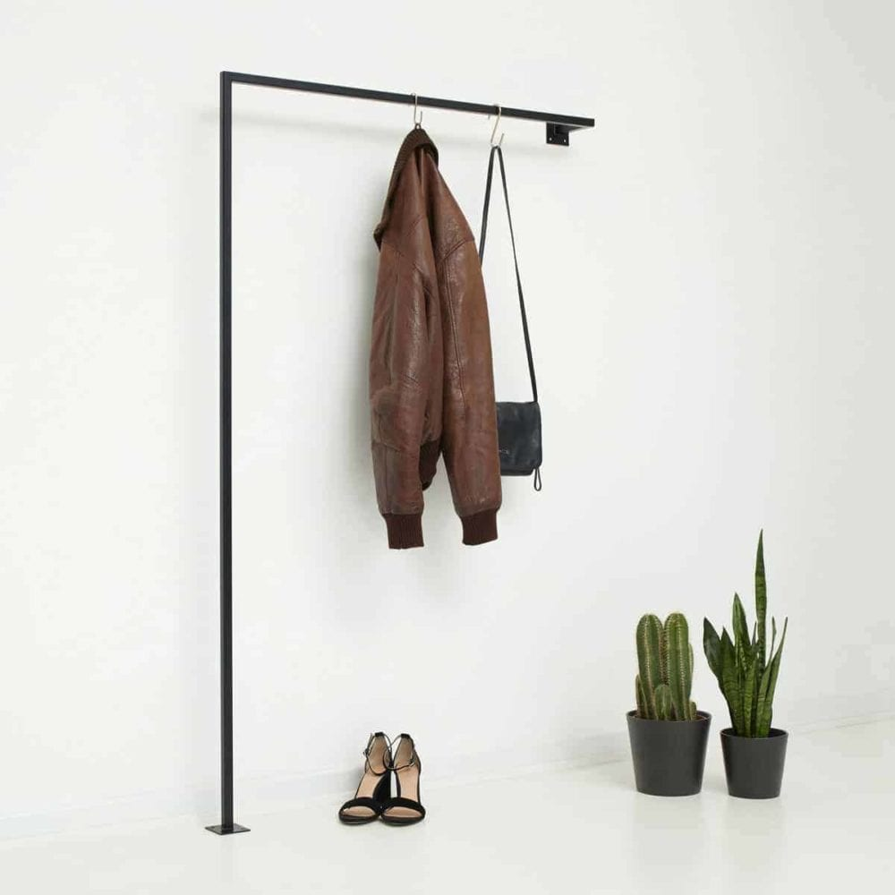 Garderobenstange Industrial Design Garderobe skandinavisch schwarz Metall pulverbeschichtet
