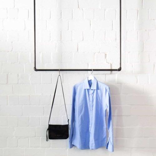 Garderobe Kleiderstange Deckenmontage Industrial Design U-Form Wasserrohr Temperguss von der Decke