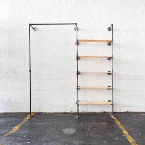 Ankleidesystem Industrial Design Garderobe Kleiderstange Wasserrohr mit Regal