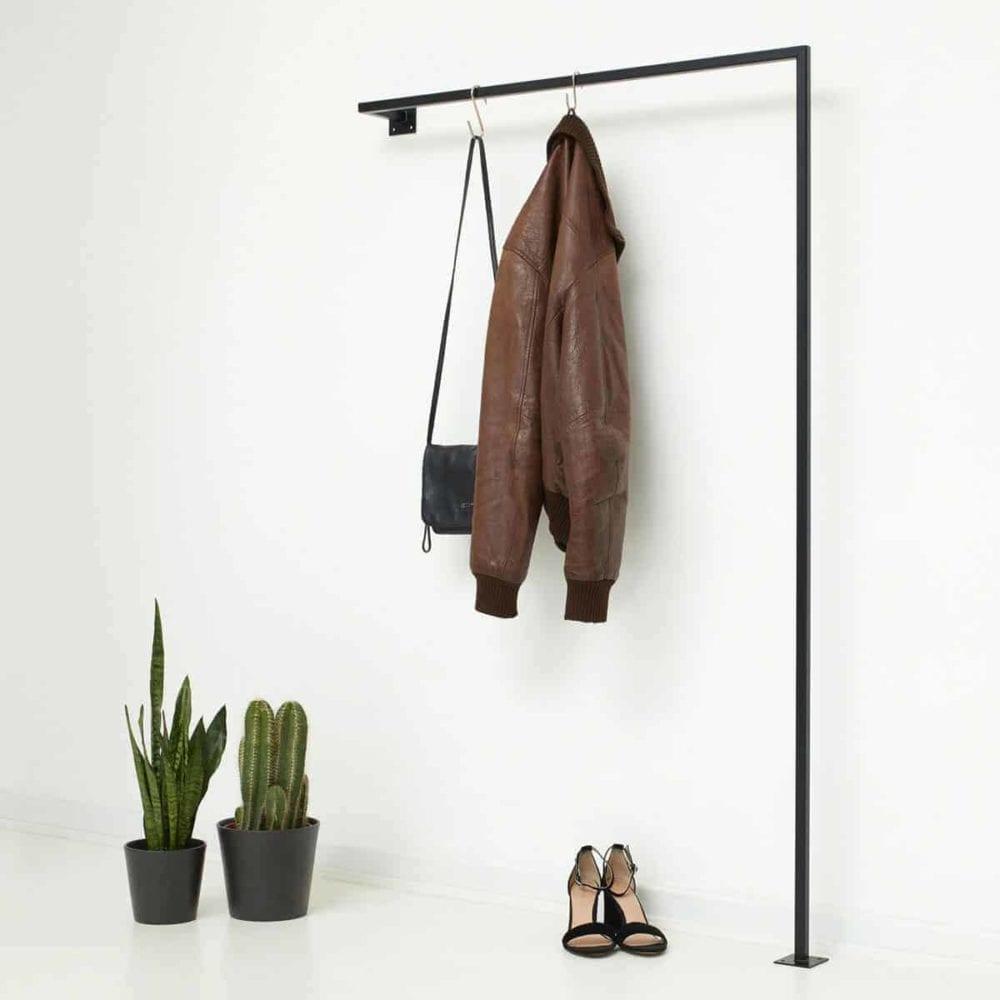 Kleiderstange Industrial Style Garderobe für schmalen Flur geschweisst aus Metall schwarz pulverbeschichtet
