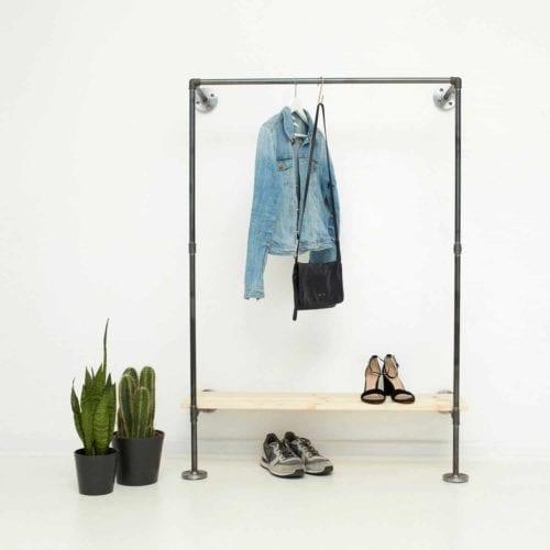 Garderobe Industrial Design Wasserrohr Temperguss mit Schuhregal