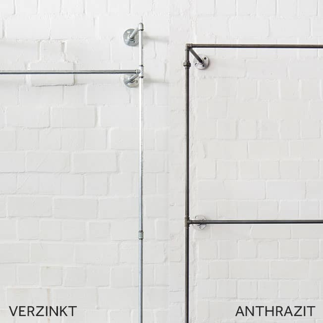 Stahlrohr verzinkt und anthrazit im Vergleich