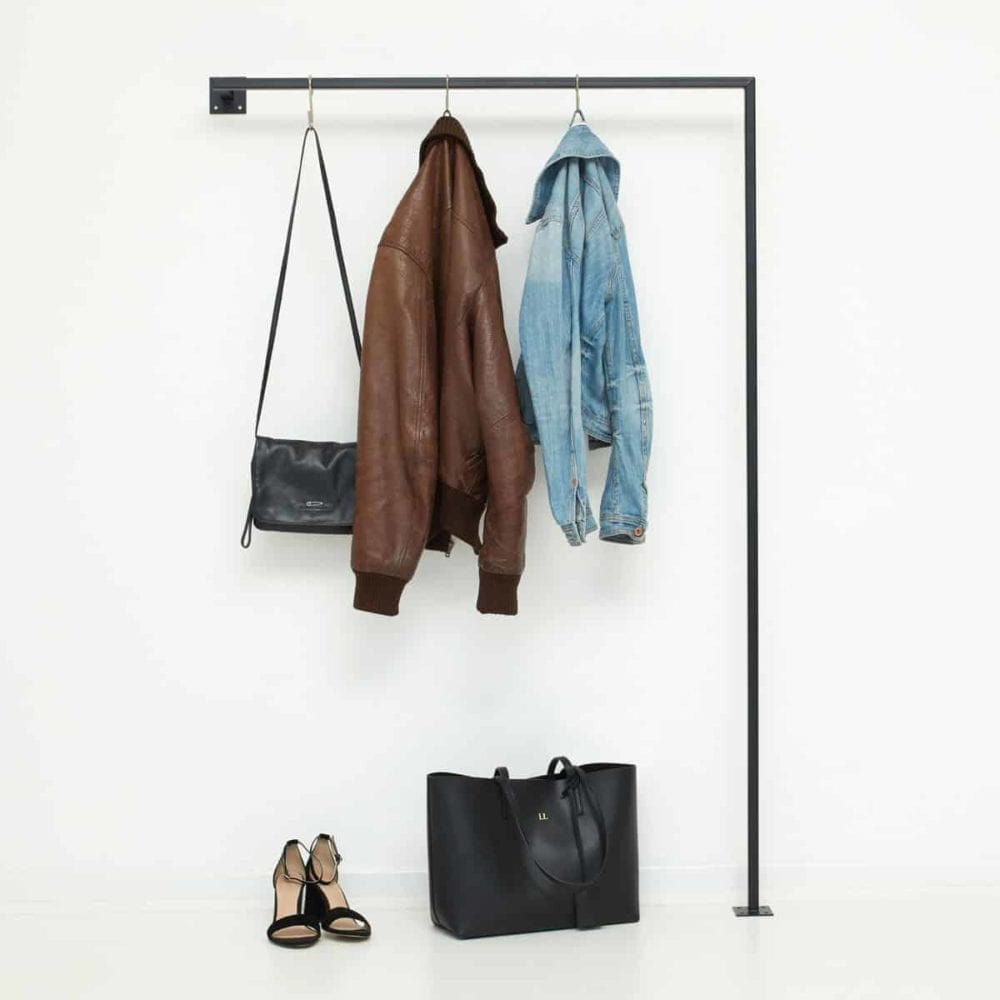 Garderobenstange Industrial Style skandinavische Möbel Metall schwarz geschweisst