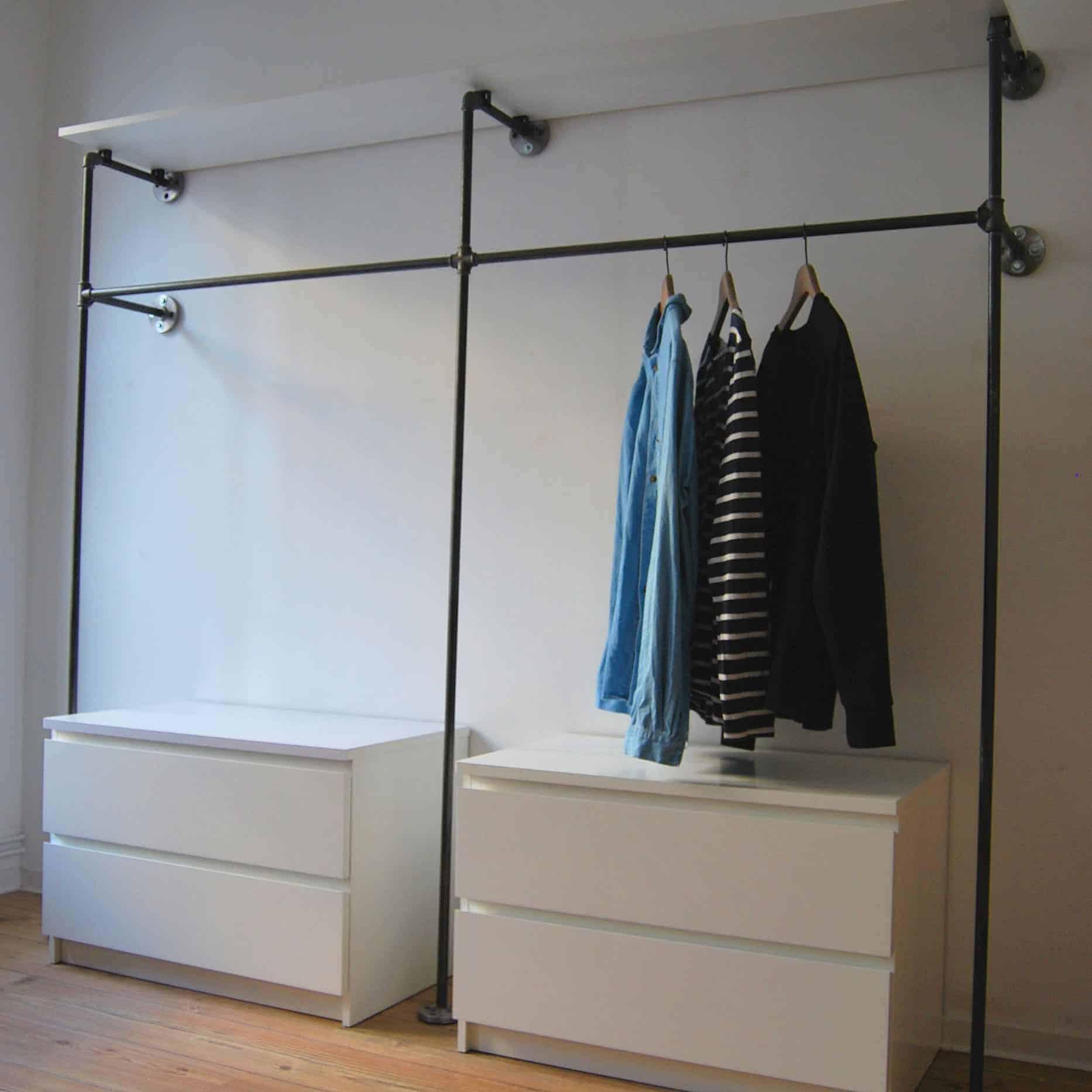 Garderobe Industrial Design Schranksystem aus Wasserrohr und Temperguss - Kleiderstange mit Kommode Regal Kombination selber bauen