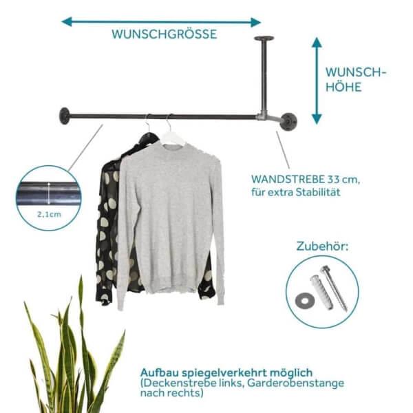 Garderobenstange Industriedesign schwarz metall rohr stabil jacke flur eingang deckenmontage wandmontage l-form